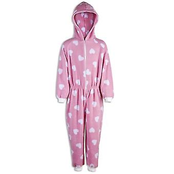 Camille Childrens Girls Pink With White Prints All In One Pyjama Onesie