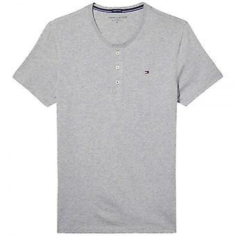 Tommy Hilfiger Organic Cotton Short Sleeved Henley T-Shirt, Heather Grey, Small