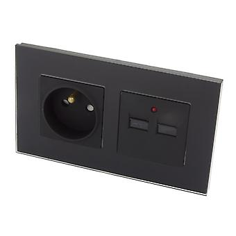 I LumoS Luxury Black Glass 16A French & 2.1A USB Charger Double Socket UK & EU Standard