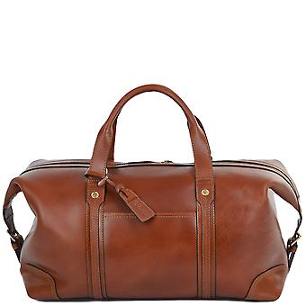 Ashwood Large Leather Travel Holdall - Stanley - Cognac