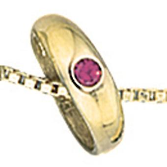 Kinderen ☆ ring 333 Gold Yellow Gold 1 Ruby Red doopsel hanger
