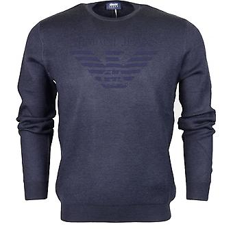 Armani Jeans 6y6md3 Round Neck Long Sleeve Navy Jumper