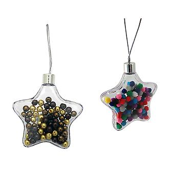 Outstanding Quality 90mm Two Part Plastic Star Bauble for Photos or Filling
