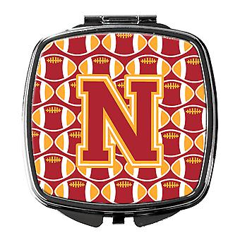 Letter N Football Cardinal and Gold Compact Mirror