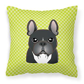 Checkerboard Lime Green French Bulldog Canvas Fabric Decorative Pillow