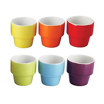 Pk of 6 Assorted Coloured Ceramic Egg Cup Holder Serving Breakfast Boiled Egg