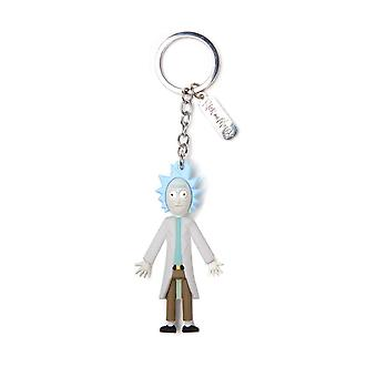 Rick And Morty Keyring Keychain 3D Rick wriggity wrecked Official Blue Rubber