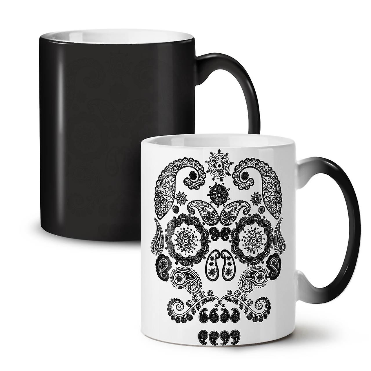OzWellcoda New Coffee The Colour 11 Mug Black Face Ceramic Skull Of Changing Tea pSzUMVq