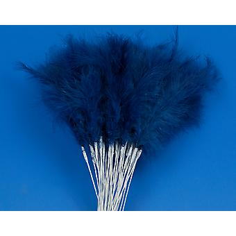 36 Navy Blue Feather Spray Picks for Floristry & Craft Projects
