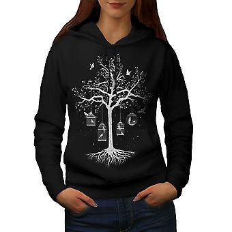 Fantastische Käfig Baum Frauen BlackHoodie | Wellcoda