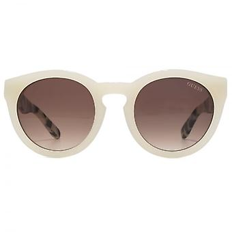 Guess Keyhole Round Sunglasses In Ivory