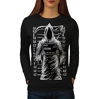 Grim Reaper Jail Horror Women BlackLong Sleeve T-shirt | Wellcoda