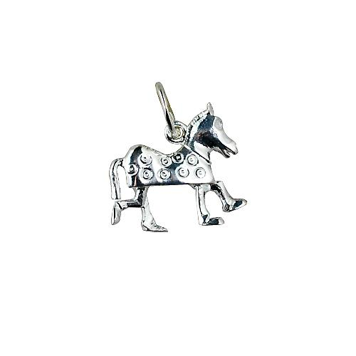 Silver 13x15mm Pantomime Horse Pendant or Charm