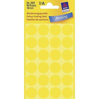 Avery-Zweckform 3007 Labels (hand writable) Ø 18 mm Paper Yellow 96 pc(s) Permanent Sticky dots