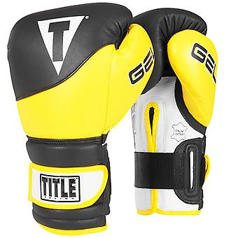 Title Boxing Gel Suspense V2T Hook and Loop Training Gloves - Black/Yellow