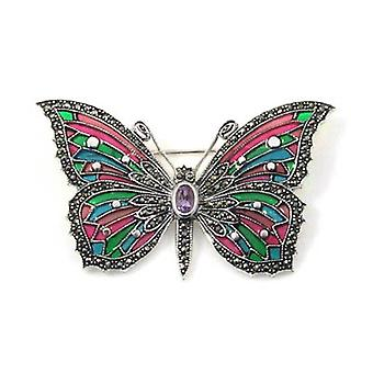 Brooches Store Marcasite, Sterling Silver and Multicoloured Enamel Butterfly Bro