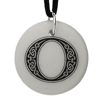 Handmade Celtic Initial Round Shaped Porcelain Pendant - Letter 'O'