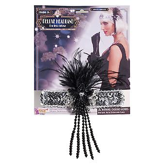 Charleston Flapper 1920s Peacock Deluxe Silver Sequin Women Costume Headpiece