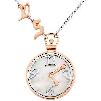 Orphelia Silver 925   Necklace Bicolor Small Clock With Numbers Mop  ZK-7174/1