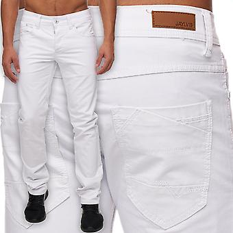 Men Slim Fit Jeans Trousers white Six-Pocket Style Straight leg