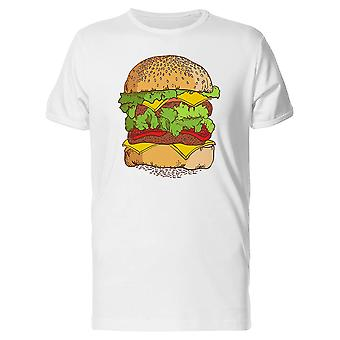 Drawing Of A Cheese Hamburger Tee Men's -Image by Shutterstock