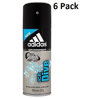6 x Cool Adidas & asciutto 48h Mens Anti-traspirante Spray 150Ml - ghiaccio Dive