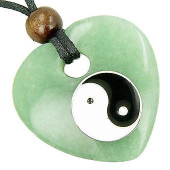 Hjerte penge Talisman heldig Ying Yang aventurin perle halskæde