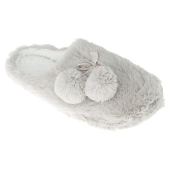 SlumberzzZ Womens/Ladies Bow Tie And Pom Pom Fleece Slippers With Rubber Sole