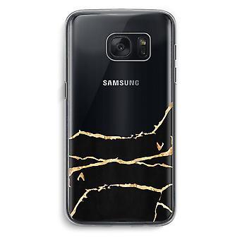 Samsung Galaxy S7 Transparent fodral (Soft) - guld marmor