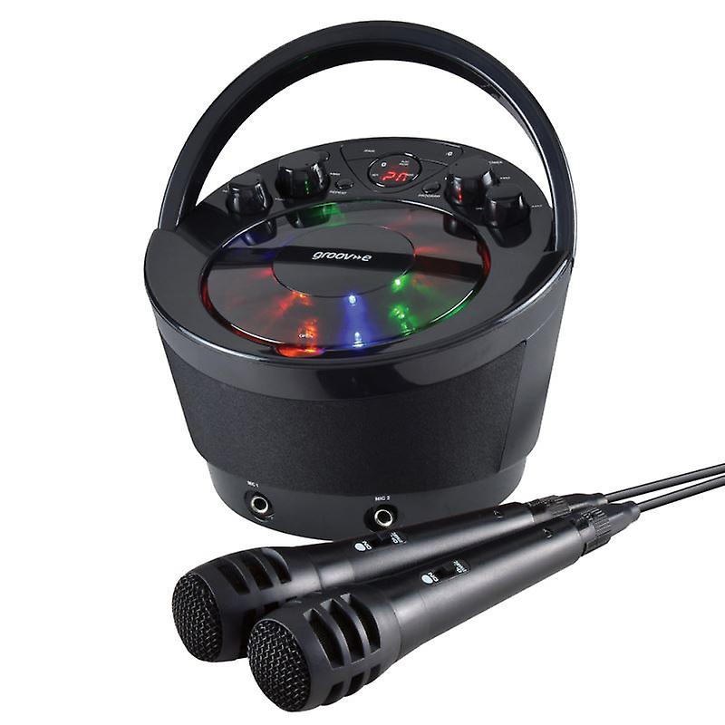 Groov-e GVPS923BK Portable Karaoke Boombox with CD Player and Bluetooth Playback