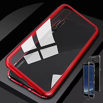 Für Huawei P20 Lite Magnet / Metall / Glas Case Bumper Rot / Transparent Tasche Hülle Neu