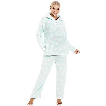 Camille Mint verde Supersoft Velour Fleece bianco stelle stampa pigiama Set