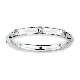Bisel plata pulido expresiones apilable rodio aguamarina anillo - tamaño del anillo: 5 a 10