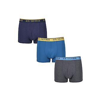 Ben Sherman Underwear Men's 3 Pack Boxer Trunk Shorts Charcoal Marl Blue Worth