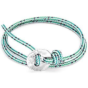 Anclaje y Lerwick equipo de plata y cuerda pulsera - tablero verde