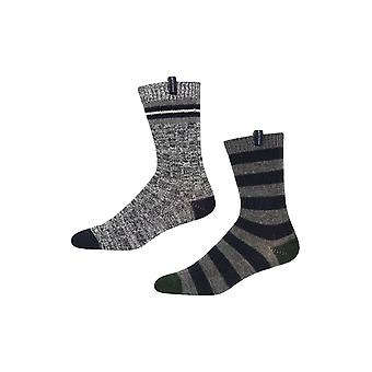 Ben Sherman Men's 2 Pack Thick Boot Socks Navy Grey Khaki Stripe Colebridge