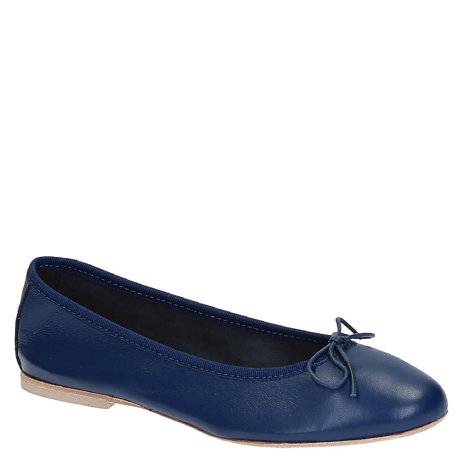 Handmade flats ballets chaussures in bleu soft leather