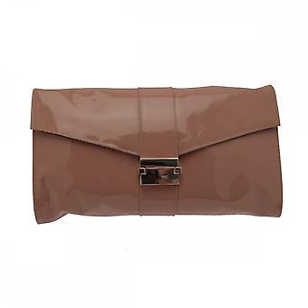 Sachelle Coutute patente embrague bolso con hebilla de gran tamaño