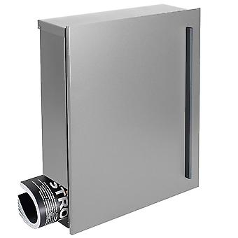 Design mailbox with newspaper box Silver (Silver RAL 9006) MOCAVI box 110 wall letter box 12 litres