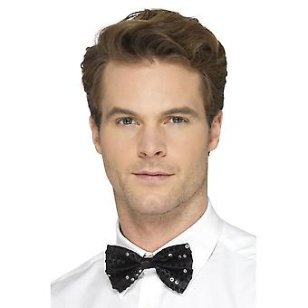 Sequin Bow Tie, Black