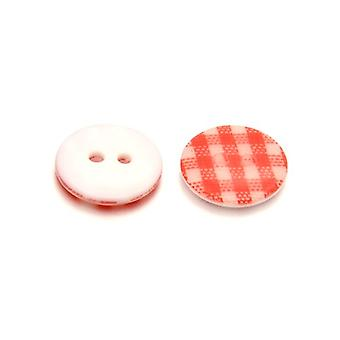 Packet 10 x Red/White Resin 13mm Round 2-Holed Patterned Sew On Buttons HA14195