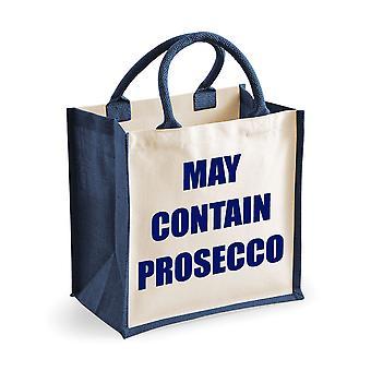 Medium Navy Jute Bag May Contain Prosecco