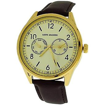 Mark Maddox Gents Day-Date Goldtone Dial & Brown PU Strap  Watch HC0007-24