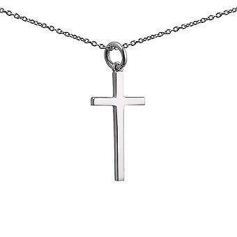 Sølv 25x14mm almindelig solid blok Kors med en 1mm bred rolo kæde 14 inches kun egnet for børn