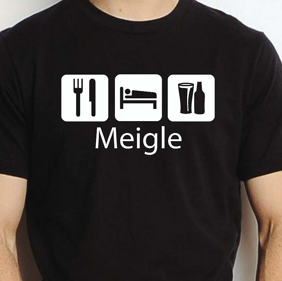 Eat Sleep Drink Meigle Black Hand Printed T shirt Meigle Town