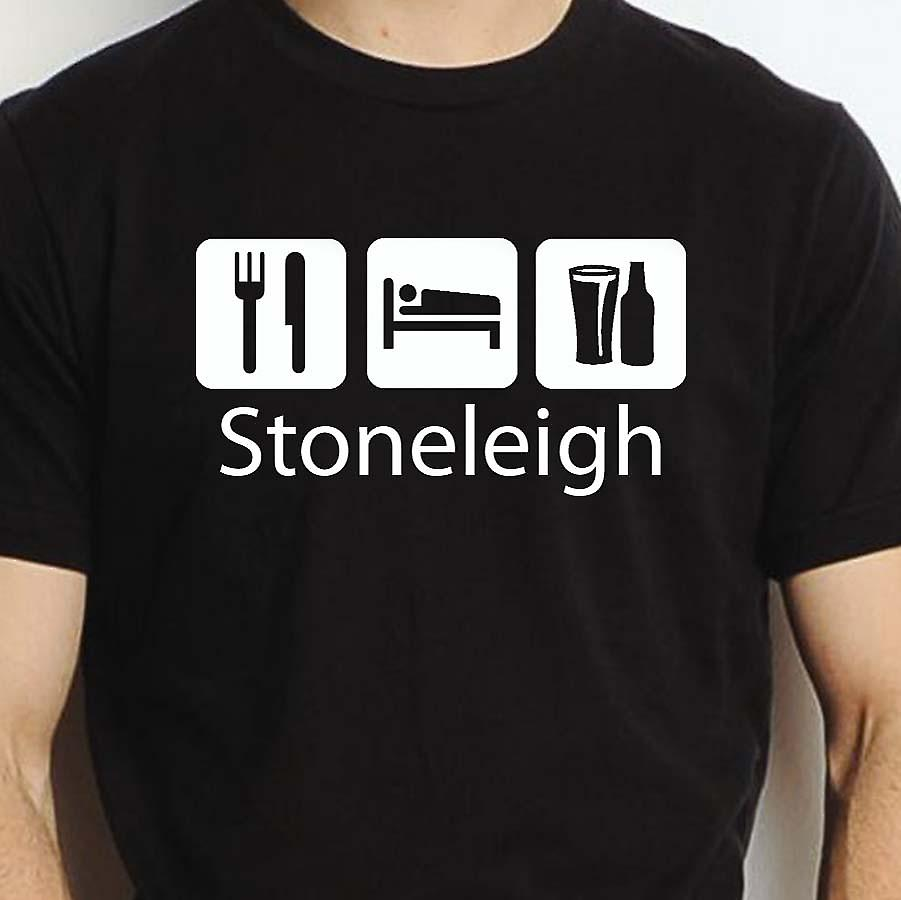 Eat Sleep Drink Stoneleigh Black Hand Printed T shirt Stoneleigh Town