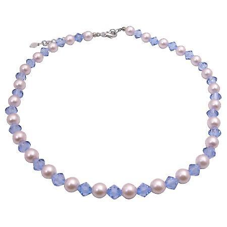 Ivory & Aqua Blue Crystals Culture Pearls & Crystals Choker Necklace