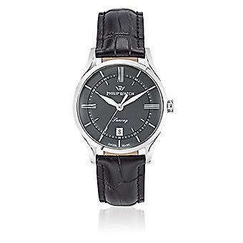 Philip Watch R8251180007 men's Watch, quartz, analog display, black leather strap