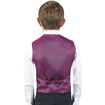 Dobell Boys Purple Paisley Waistcoat Regular Fit Wedding