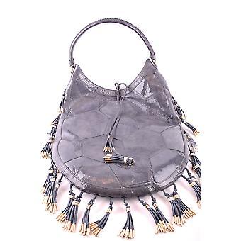 Bikkembergs Grey Patent Leather Handbag